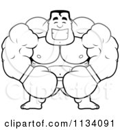 Cartoon Clipart Of An Outlined Happy Buff Boxer Black And White Vector Coloring Page by Cory Thoman