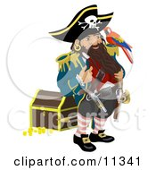 Pirate Standing By A Treasure Chest And Talking To The Bird On His Shoulder Clipart Illustration