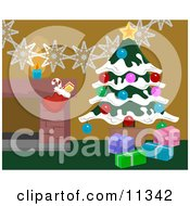 Christmas Decorations By A Fireplace In A Home Christmas Tree And Stocking Clipart Illustration by AtStockIllustration