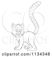Cartoon Of A Cute Outlined Lemur Royalty Free Clipart by Alex Bannykh