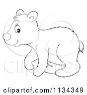 Cartoon Of A Cute Outlined Polar Bear Royalty Free Clipart by Alex Bannykh