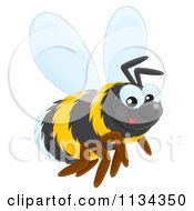 Cartoon Of A Cute Bee Royalty Free Clipart by Alex Bannykh