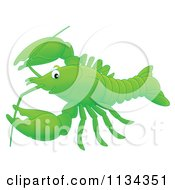 Cartoon Of A Cute Green Lobster Or Crawdad Royalty Free Clipart by Alex Bannykh