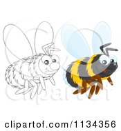 Cartoon Of A Cute Outlined And Colored Bee Royalty Free Clipart