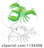 Cartoon Of A Cute Outlined And Colored Lobster Or Crawdad Royalty Free Clipart by Alex Bannykh