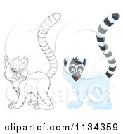 Cartoon Of A Cute Outlined And Colored Lemur Royalty Free Clipart by Alex Bannykh