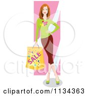 Woman Leaning And Carrying A Shopping Bag 1