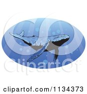 Clipart Of A Humpback Whale Swimming With Rays Of Light Royalty Free Vector Illustration by YUHAIZAN YUNUS #COLLC1134373-0081