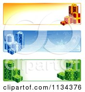 Clipart Of Christmas Gift Website Banners Royalty Free Vector Illustration