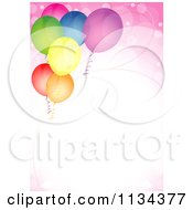 Clipart Of A Birthday Party Background With Colorful Balloons And Pink Flares Royalty Free Vector Illustration by dero
