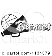 Clipart Of A Black And White Broncos Basketball Cheerleader Design Royalty Free Vector Illustration by Johnny Sajem
