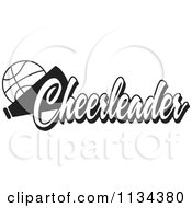 Clipart Of A Black And White Basketball Cheerleader Design Royalty Free Vector Illustration by Johnny Sajem