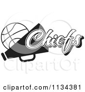 Clipart Of A Black And White Chiefs Basketball Cheerleader Design Royalty Free Vector Illustration by Johnny Sajem