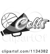 Clipart Of A Black And White Colts Basketball Cheerleader Design Royalty Free Vector Illustration by Johnny Sajem