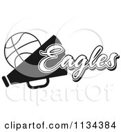 Clipart Of A Black And White Eagles Basketball Cheerleader Design Royalty Free Vector Illustration by Johnny Sajem