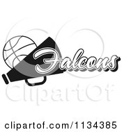 Clipart Of A Black And White Falcons Basketball Cheerleader Design Royalty Free Vector Illustration by Johnny Sajem