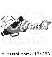 Clipart Of A Black And White Hornets Basketball Cheerleader Design Royalty Free Vector Illustration by Johnny Sajem