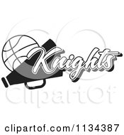 Clipart Of A Black And White Knights Basketball Cheerleader Design Royalty Free Vector Illustration by Johnny Sajem