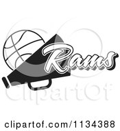 Clipart Of A Black And White Rams Basketball Cheerleader Design Royalty Free Vector Illustration by Johnny Sajem