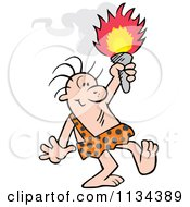 Cartoon Of A Caveman Holding Up A Torch Royalty Free Vector Clipart