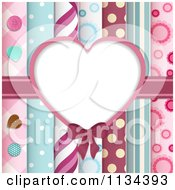 Clipart Of A Heart Frame Over Papers And Buttons Royalty Free Vector Illustration by elaineitalia