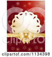 Clipart Of A Snowflake Tag With Gold Ribbon Over Red Snowflakes Royalty Free Vector Illustration