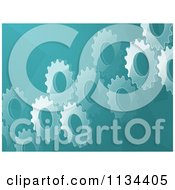 Clipart Of A Blue Gear Cog Background Royalty Free Vector Illustration by elaineitalia