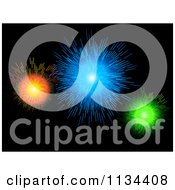Clipart Of A Bursts Of Colorful Fireworks On Black Royalty Free Vector Illustration