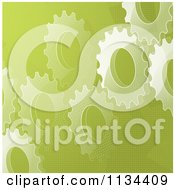 Clipart Of A Green Gear Cog Background Royalty Free Vector Illustration by elaineitalia
