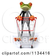 Clipart Of A 3d Formal Springer Frog With A Shopping Cart 1 Royalty Free CGI Illustration