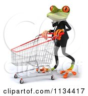 Clipart Of A 3d Formal Springer Frog With A Shopping Cart 2 Royalty Free CGI Illustration