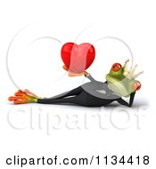 Clipart Of A 3d Formal Frog Prince Reclined And Holding A Heart Royalty Free CGI Illustration