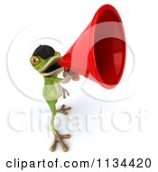 Clipart Of A 3d French Frog Announcing With A Megaphone 2 Royalty Free CGI Illustration