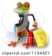 Clipart Of A 3d Formal Springer Frog Carrying Shopping Bags Royalty Free CGI Illustration