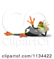 Clipart Of A 3d Formal Frog Prince Reclined And Waving Royalty Free CGI Illustration
