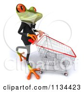 Clipart Of A 3d Formal Springer Frog With A Shopping Cart 3 Royalty Free CGI Illustration