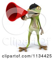 Clipart Of A 3d French Frog Announcing With A Megaphone 1 Royalty Free CGI Illustration