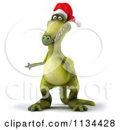 Clipart Of A 3d Christmas Dinosaur Presenting Royalty Free CGI Illustration