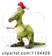 Clipart Of A 3d Christmas Dinosaur Pointing Royalty Free CGI Illustration