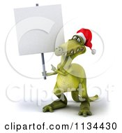 Clipart Of A 3d Christmas Dinosaur Holding A Sign 1 Royalty Free CGI Illustration