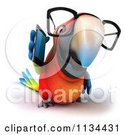 Clipart Of A 3d Bespectacled Macaw Parrot Talking On A Cell Phone 2 Royalty Free CGI Illustration