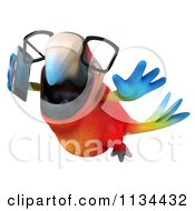 Clipart Of A 3d Bespectacled Macaw Parrot Talking On A Cell Phone 3 Royalty Free CGI Illustration