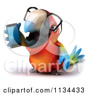 Clipart Of A 3d Bespectacled Macaw Parrot Talking On A Cell Phone 1 Royalty Free CGI Illustration