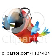 Clipart Of A 3d Bespectacled Macaw Parrot Talking On A Cell Phone 4 Royalty Free CGI Illustration