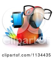 Clipart Of A 3d Bespectacled Macaw Parrot Holding A Cell Phone Royalty Free CGI Illustration