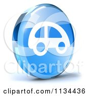 Clipart Of A 3d Blue Glass Car Icon Royalty Free CGI Illustration