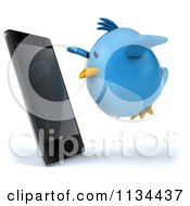 Clipart Of A 3d Bluebird Flying Towards A Cell Phone Royalty Free CGI Illustration