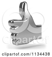Clipart Of A 3d Chrome Thumb Up Icon Royalty Free CGI Illustration