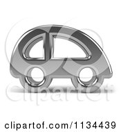 Clipart Of A 3d Chrome Car Icon Royalty Free CGI Illustration