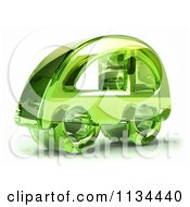 Clipart Of A 3d Green Glass Car Icon Royalty Free CGI Illustration by Julos